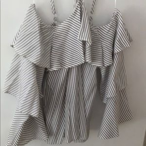 Express Striped Halter Ruffled Tiered Blouse (M)